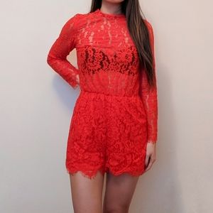 Mock neck red lace romper
